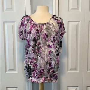 NWT Daisy Fuentes purple banded bottom blouse